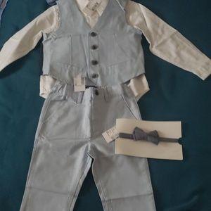 Dress shirt, bow tie, pants and vest
